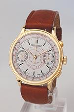 obverse: EBERHARD chronograph, around 1930. Round case in 18k yellow gold