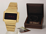 """obverse: OMEGA """"Time Computer"""" in gold, around 1970."""