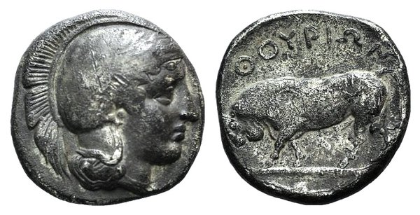 obverse: Southern Lucania, Thourioi, c. 443-400 BC. AR Stater