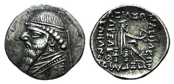 obverse: Kings of Parthia, Mithradates II (121-91 BC). AR Drachm