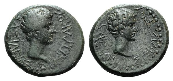 obverse: Kings of Thrace, Rhoemetalkes I and Augustus (11 BC-12 AD). Æ