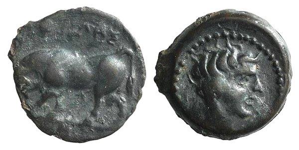 obverse: Sicily, Gela, c. 420-405 BC. Æ Onkia