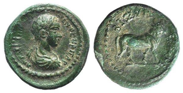 obverse: Caracalla (Caesar, 196-198). Thrace, Bizya. Æ