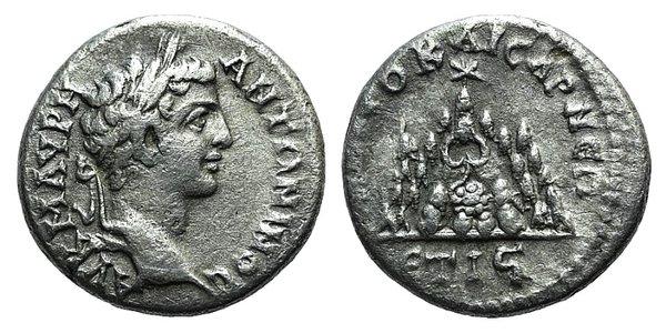 obverse: Caracalla (Caesar, 196-198). Cappadocia, Caesarea-Eusebia. AR Drachm