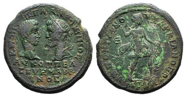 obverse: Macrinus and Diadumenian (217-218). Moesia Inferior, Marcianopolis. Æ Pentassarion