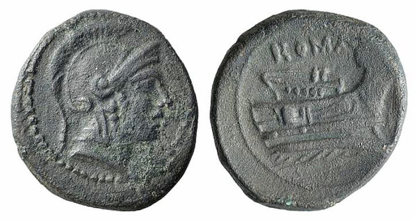 obverse: Anonymous, Rome, 217-215 BC. Æ Quartuncia