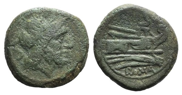 obverse: Anonymous, Rome, after 211 BC. Æ Semis