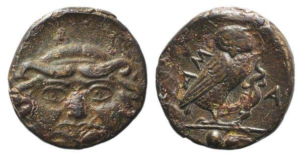 obverse: Sicily, Kamarina, c. 420-405 BC. Æ Onkia