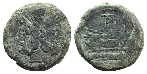 obverse: TP series, Rome, 169-158 BC. Æ As