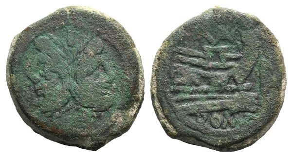 obverse: VAL series, Rome, c. 169-158 BC. Æ As