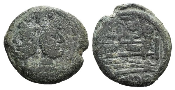 obverse: Mast and sail series, Rome, c. 155-149 BC. Æ As