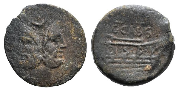obverse: C. Cassius Longinus and L. Salinator, Rome, 84 BC. Æ As