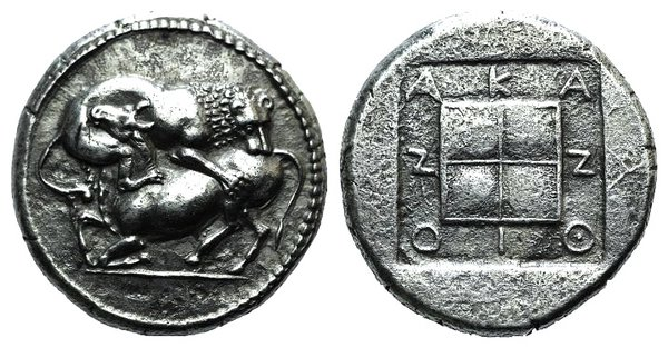 obverse: Macedon, Akanthos, c. 430-390 BC. AR Tetradrachm