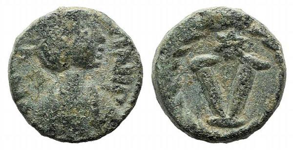 obverse: Justinian I (527-565). Æ 5 Nummi