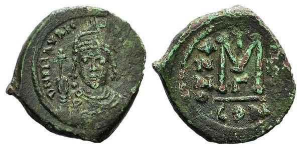 obverse: Maurice Tiberius (582-602). Æ 40 Nummi