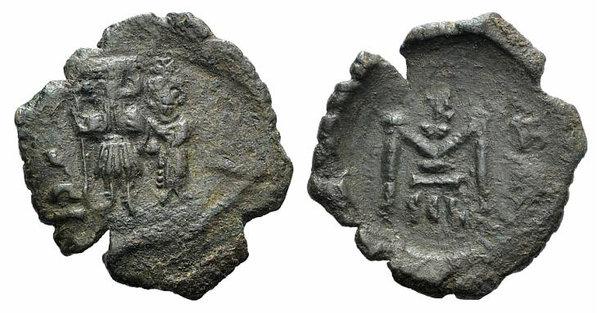 obverse: Constans II (641-668). Æ 10 Nummi