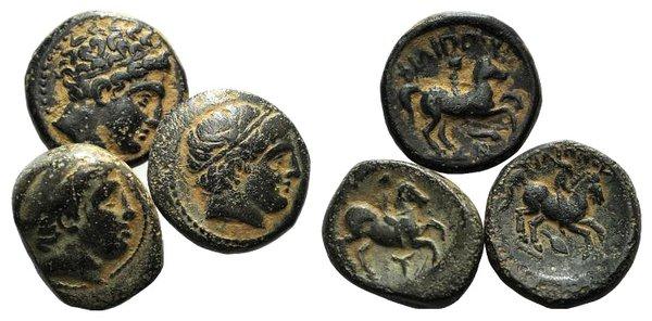 obverse: Kings of Macedon, Philip II, lot of 3 Æ coins