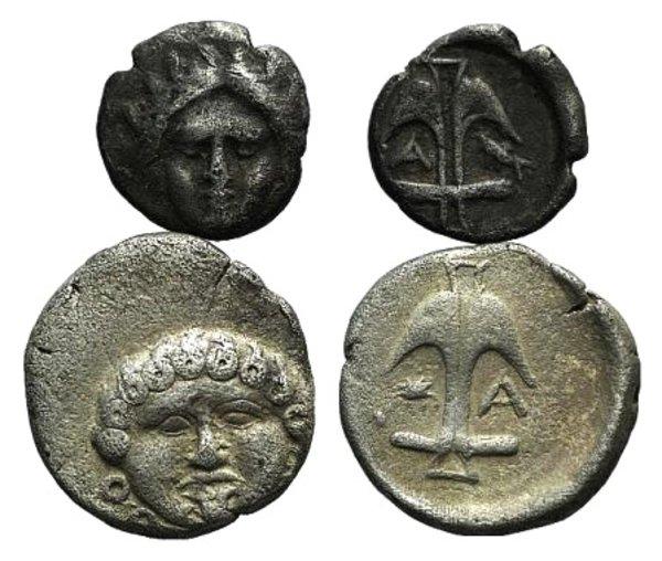 obverse: Thrace, Apollonia Pontika, lot of 2 AR coins