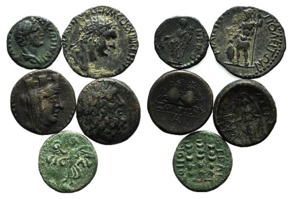 obverse: Lot of 5 Greek and Roman Provincial coins