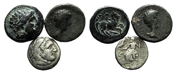 obverse: Lot of 3 Greek and Roman Provincial coins