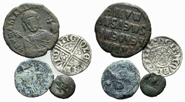 obverse: Lot of 4 Greek (2), Byzantine and Medieval coins