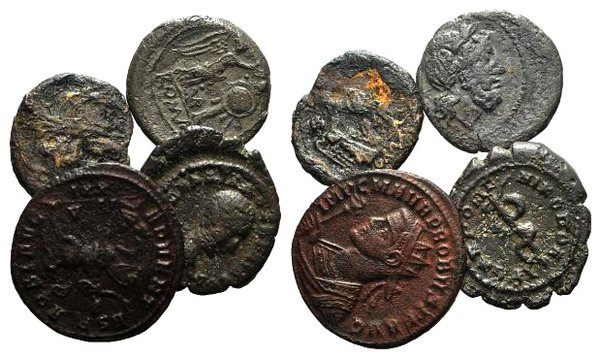 obverse: Lot of 4 Roman Provincial, Roman Republican (2) and Roman Imperial coins