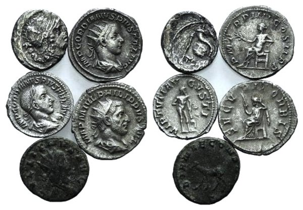 obverse: Lot of 5 AR and Æ Roman Republican and Roman Imperial coins
