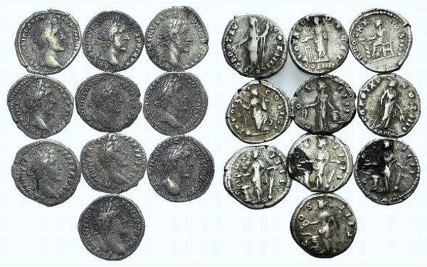 obverse: Antoninus Pius, lot of 10 AR Denarii