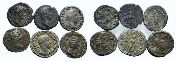 obverse: Lot of 6 AR Roman Denarii