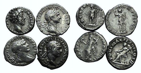 obverse: Lot of 4 AR Roman Denarii