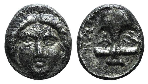 obverse: Thrace, Apollonia Pontika, late 5th-4th centuries BC. AR Diobol