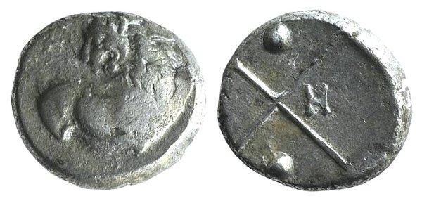 obverse: Thrace, Chersonesos, c. 386-338 BC. AR Hemidrachm
