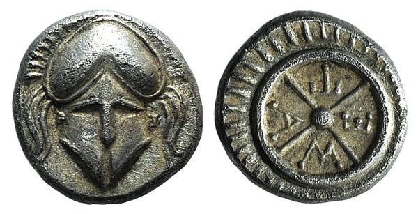 obverse: Thrace, Mesambria, 4th century BC. AR Diobol
