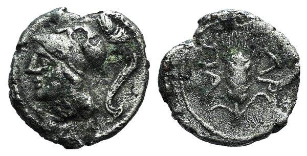 obverse: Apulia, Arpi, c. 215-212 BC. AR Obol