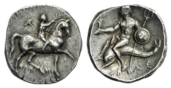 obverse: Apulia, Tarentum, c. 280-272 BC. AR Nomos