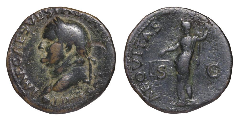 AS de Vespasiano. AEQVITAS AVGVST. Aequitas estante a izq. Roma. 39D