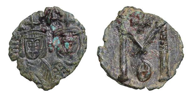 Byzantine Bronze Coin Theophilus & Michael Iii Ae Follis 829-842 Ad. Byzantine (300-1400 Ad)