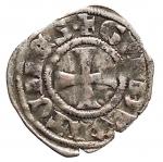 R/ Oriente Latino - Thebe.Guido II de la Roche (1287-1308).Denaro.Schl. tav. XIII,9 Gamb. 239.MI.g. 0.85.BB+. Patina