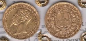 D/ ITALIA – Vittorio Emanuele II (1849-1878) 20 Lire 1860 Milano Pagani 357 rara SPL al R/ fondi speculari periziata