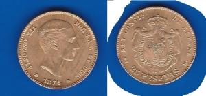 D/  SPAGNA – Alfonso XII (1875-1885) 25 Pesetas 1876 KM 673 SPL