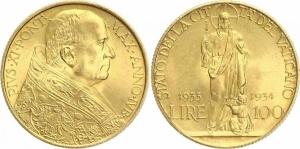D/ Vaticano, Pio XI (1922-1939), 100 Lire 1933-1934 Pagani 616 FDC