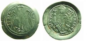 D/ AQUILEIA, Gregorio di Montelongo (1251-1269). Denaro con aquila argento 0.99 gr. D/ ·GREGO RIV·PA Patriarca seduto, mitrato con croce e vangelo. R/ ·AQVI· LEGIA· aquila spiegata volta a destra. Bernardi 22 Rara BB