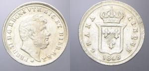 D/  NAPOLI, Ferdinando II (1830-1859). 5 Grana 1848 argento. MIR 517 Pannuti Riccio 177 non comune ribattuta SPL