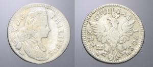 D/ PALERMO, Filippo V (1701-1713). Tarì 1708 argento MIR 504 non comune BB+/qSPL