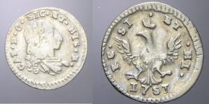D/ PALERMO, Carlo III (1734-1759). ½ Tarì 1751 argento MIR 582 non comune BB+/qSPL