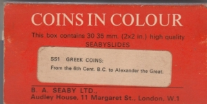 D/ Seaby, London, Coins in Colour SS1 Greek Coins: From the 6thCent. BC to Alexander the Great. Diapositive di monete greche (NON SI ACCETTANO RESI)