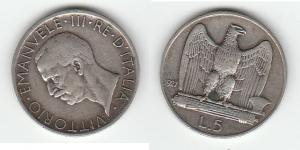 D/  SAVOIA, Vittorio Emanuele III (1900-1945) 5 Lire 1927 Gigante 74 BB