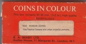 D/ Seaby, London, Coins in Colour SS2 Roman Coins: The Twelve Caesars and other Imperial portraits. Diapositive di monete romane