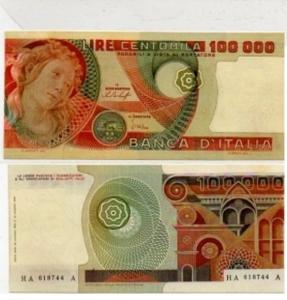 D/ REPUBBLICA ITALIANA - 100000 lire BOTTICELLI, taglio e filigrana spostati serie HA-618744 A estremamente rara FDS assoluto