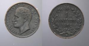 D/ SAVOIA, Vittorio Emanuele III (1900-1945) Centesimo 1902 Pagani 940 rarissima MB/BB periziata